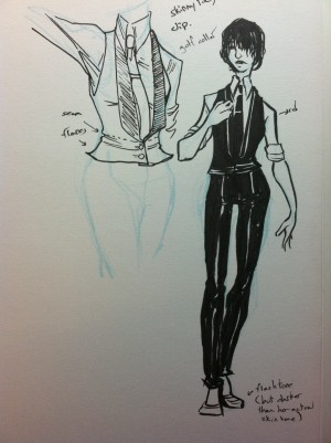 Costume design for Devi, as she appears in issue #1.